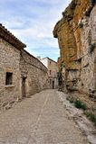 Landscape with old spanish town Ares. Royalty Free Stock Photography