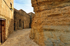 Landscape with old spanish town Ares. Stock Photos