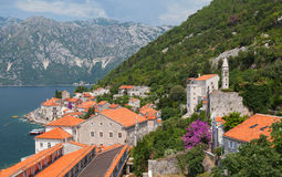 Landscape of old town on Adriatic sea coast Stock Images