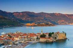 Landscape of old town Budva at sunset. Montenegro. Stock Image