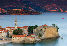 Landscape of old town Budva at sunset. Montenegro. Royalty Free Stock Photo
