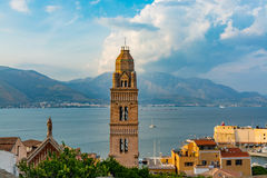 Landscape of old town Gaeta on sunset. Italy Stock Photography