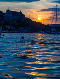Landscape of old town Gaeta on sunset. Italy Stock Photo