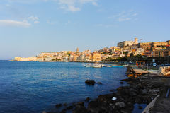 Landscape of old town Gaeta on sunset. Italy Stock Photos