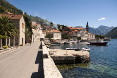 Landscape of old town Perast in Kotor bay, Montenegro Royalty Free Stock Image