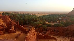 Landscape of old village in Sahara royalty free stock photography