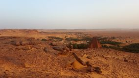 Landscape of old village in Sahara stock photo