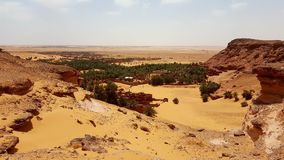 Landscape of old village in Sahara stock image