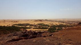 Landscape of old village in Sahara stock images