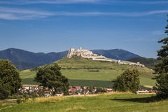 Landscape with old white stone castle Royalty Free Stock Image