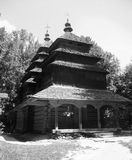 Landscape old wooden Church. Retro Royalty Free Stock Photo