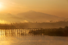 Landscape  of old wooden mon bridge in Sangkhlaburi, Thailand. Royalty Free Stock Images