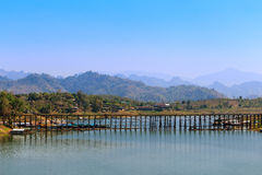 Landscape of old  wooden mon bridge in Sangkhlaburi, Thailand. Stock Photography