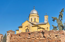 Landscape of an old yellow church and wall at Gardos, Zemun Royalty Free Stock Photography