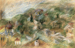 Landscape with olive trees. Pastel/watercolors landscape with rural houses among cypresses and olive trees. Suitable for backgrounds Royalty Free Stock Images