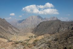 Landscape of Omani mountains on a sunny day. Balad Seet, Oman Stock Photography