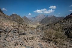 Landscape of Omani mountains on a sunny day. Balad Seet, Oman Stock Images