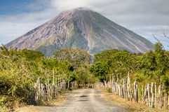 Landscape in Ometepe island with Concepcion volcano. Landscape in the Ometepe island with the Concepcion volcano in the background in lake Nicaragua Stock Photo