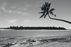 Landscape of One foot Island in Aitutaki Lagoon Cook Islands Stock Images