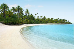 Landscape of One foot Island in Aitutaki Lagoon Cook Islands Royalty Free Stock Photo