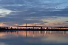 Westgate Bridge at sunset over the Yarra River in Melbourne, Australia. royalty free stock photos