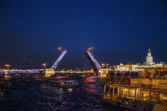 Landscape with open Palace bridge, view from Neva river from boat, in St. Petersburg Royalty Free Stock Photos