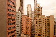 Landscape orange building Rooftops of the buildings in hong kong Stock Photography