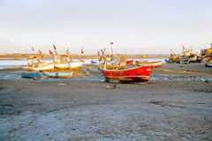 Grounded Boats in Gujarat India Royalty Free Stock Images