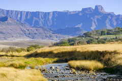 Landscape-orientated view of the Drakensberg Mountain Range in KwaZulu-Natal province of South Africa. Royalty Free Stock Images