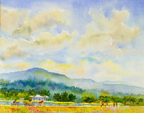 Landscape original painting  family fitness by ride bicycle and run Royalty Free Stock Image