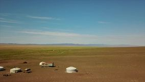 Orkhon valley sparsely populated by nomad families, Khangai Nuruu National Park Areal Drone Shoot