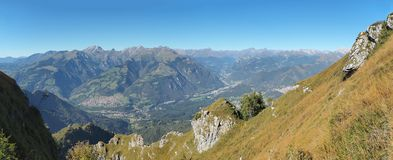 Landscape at the Orobie Alps in a clear and blue day. Landscape from Pizzo Formico Mountain, Bergamo, Italy. Landscape at the Orobie Alps. Landscape from Pizzo royalty free stock photos