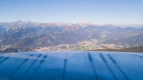 Landscape at the Orobie Alps in a clear and blue day. Landscape from Pizzo Formico Mountain, Bergamo, Italy. Landscape at the Orobie Alps. Landscape from Pizzo royalty free stock photo