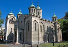 Landscape of Orthodox Church of the Ascension in Belgrade, Serbia Stock Images