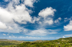 Landscape Outside of Flower Forest Botanical Gardens, Barbados. Jungle and Blue Sky Royalty Free Stock Photo