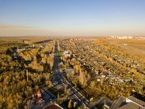 Landscape on the outskirts of the city with a view of the trees royalty free stock photos
