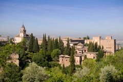 Landscape of Outstanding Alhambra palace. stock photos