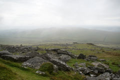Landscape over Dartmoor National Park in Autumn with rocks and f Stock Photography