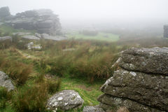 Landscape over Dartmoor National Park in Autumn with rocks and f Royalty Free Stock Image