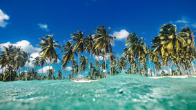 Landscape over water surface, tropic island Stock Photos