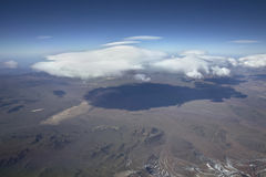 Landscape overflying the Andes and the Aconcagua mountain Royalty Free Stock Image