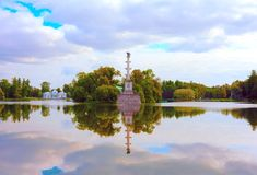 Landscape overlooking the Big pond, the Chesmensky column and pavilion Grotto in the Catherine Park in Tsarskoe Selo Pushkin, St stock photos