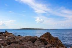 Landscape overlooking the nearby island near Sozopol, Bulgaria Stock Photos