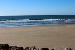Beach Ponta da Areia in Portugal. Landscape overview of beach Ponta da Areia royalty free stock images