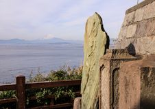 Landscape with the Pacific Ocean, rocks and Mount Fujiyama on background. Nature of Japan stock photo