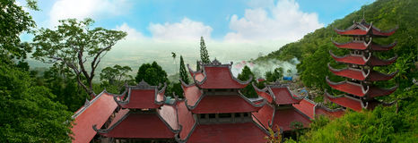 Landscape with pagoda on mountain Ta Ku. Vietnam Royalty Free Stock Images