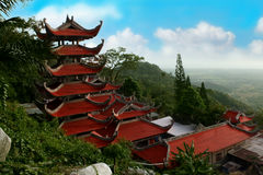 Landscape with pagoda on mountain Ta Ku. Vietnam Stock Images