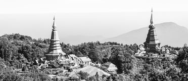 Landscape of Pagodas. Landscape of Black and White Pagodas (Phra Mahathat Napha Methanidon and Napha Pholphumisiri) at Doi Inthanon Stock Photo