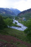 Landscape in Pahalgam-5. A superb landscape with a river,mountain and trees in Kashmir valley Royalty Free Stock Photos