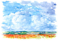 Landscape. Landscape painted with watercolors on paper Royalty Free Stock Image